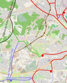 Układ sieci tramwajowej między Wrzeszczem a południowymi dzielnicami. Linią przerywaną oznaczono trasy dopuszczone w MPZP, lecz nieuwzględnione w studium.