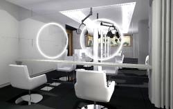 Projekt salonu fryzjerskiego Wioletty Michalskiej stworzony przez Monikę Potorską.