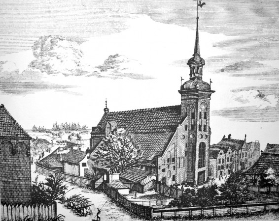 Tak przed wiekami wyglądał kościół św. Jakuba i jego najbliższe okolice.