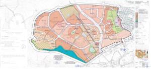 Przebieg nowej ul. Unruga i  ul. Świrskiego, które w przyszłości powstaną w okolicy Pięciu Wzgórz. Obszar w paski zaplanowany jest pod teren zielony z ciągiem pieszo-jezdnym, którym dzieci z Porębskiego będą mogły przejść. Przejść trzeba będzie także między budynkami osiedla Wieżycka.