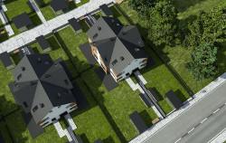 Pod jednym dachem domu typu Fourplex mieszczą się cztery domy, ale nie jest to zabudowa szeregowa.