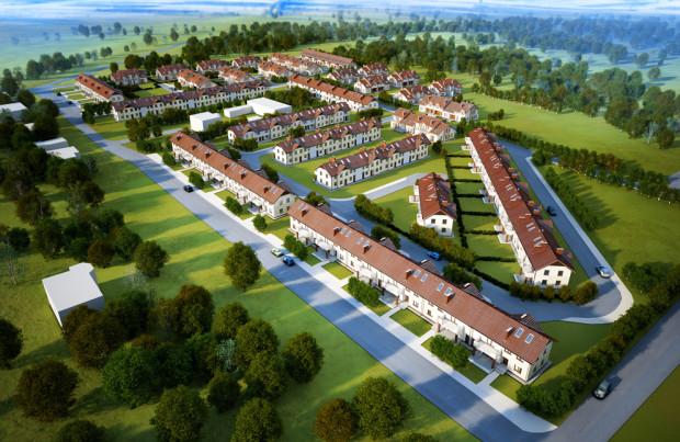 Podmiejskie osiedla domów powstają etapami, ale stały popyt na takie inwestycje powoduje, że rozrastają się na kształt małych dzielnic. Tu wizualizacja Osiedla Rodzinnego w Baninie.