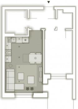 Koncepcja pierwsza. Całe pomieszczenie to otwarta przestrzeń.