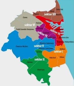 Podział Gdyni na sektory. Podział Gdańska w ramce pod tekstem.