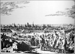 Panorama Gdańska z widocznym po prawej stronie kościołem św. Trójcy.