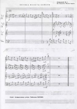 Zapis nutowy sopockiego hejnału, który skomponował Tadeusz Kassak.